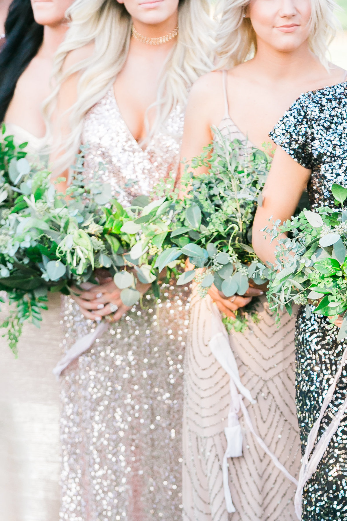 mixed metallic bridesmaids dresses with greenery bouquets and silk ribbon
