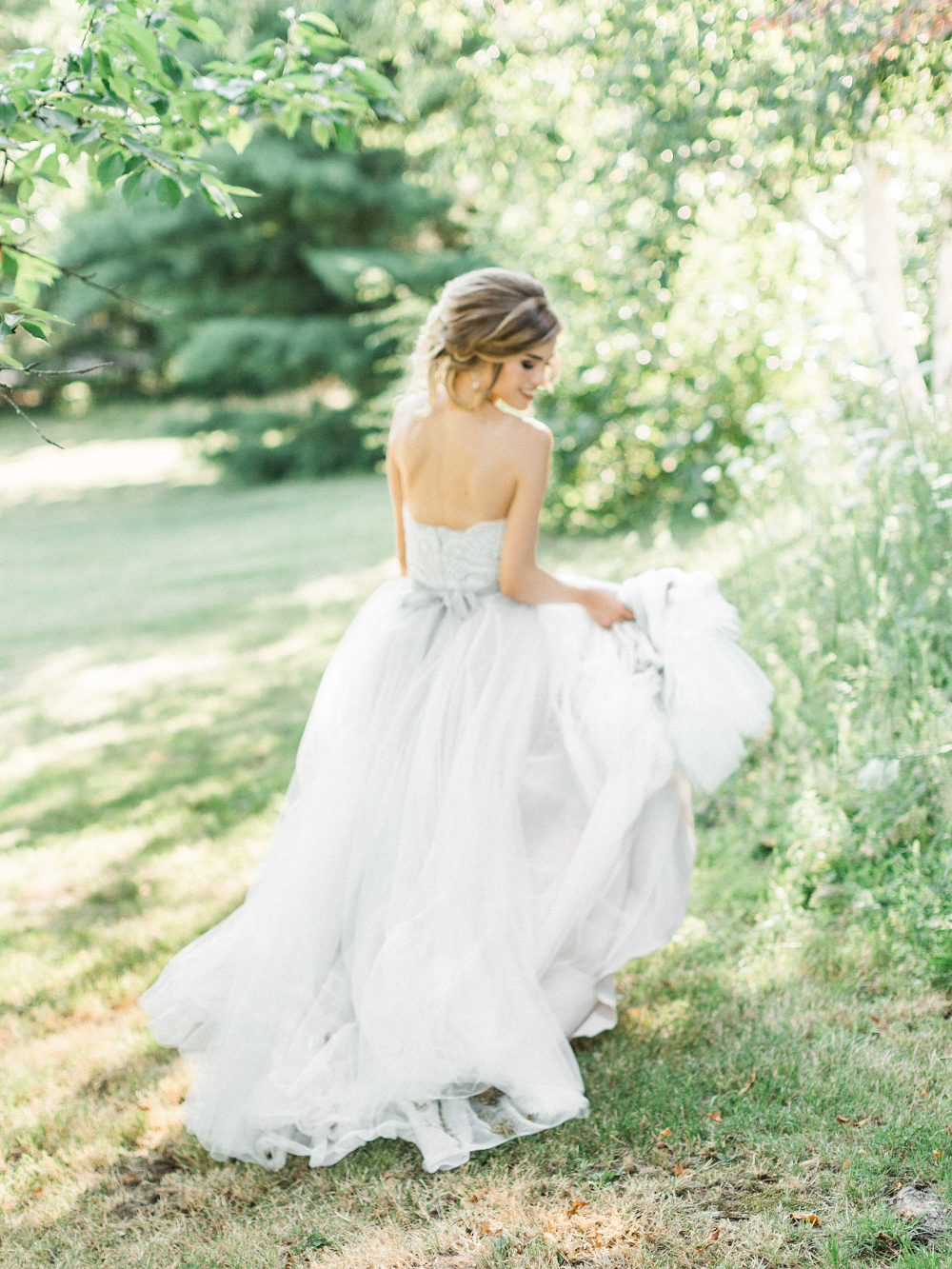 Whimsical Summer Wedding Styled Shoot at Henderson Castle Featured in WeddingDay Magazine Bride wandering