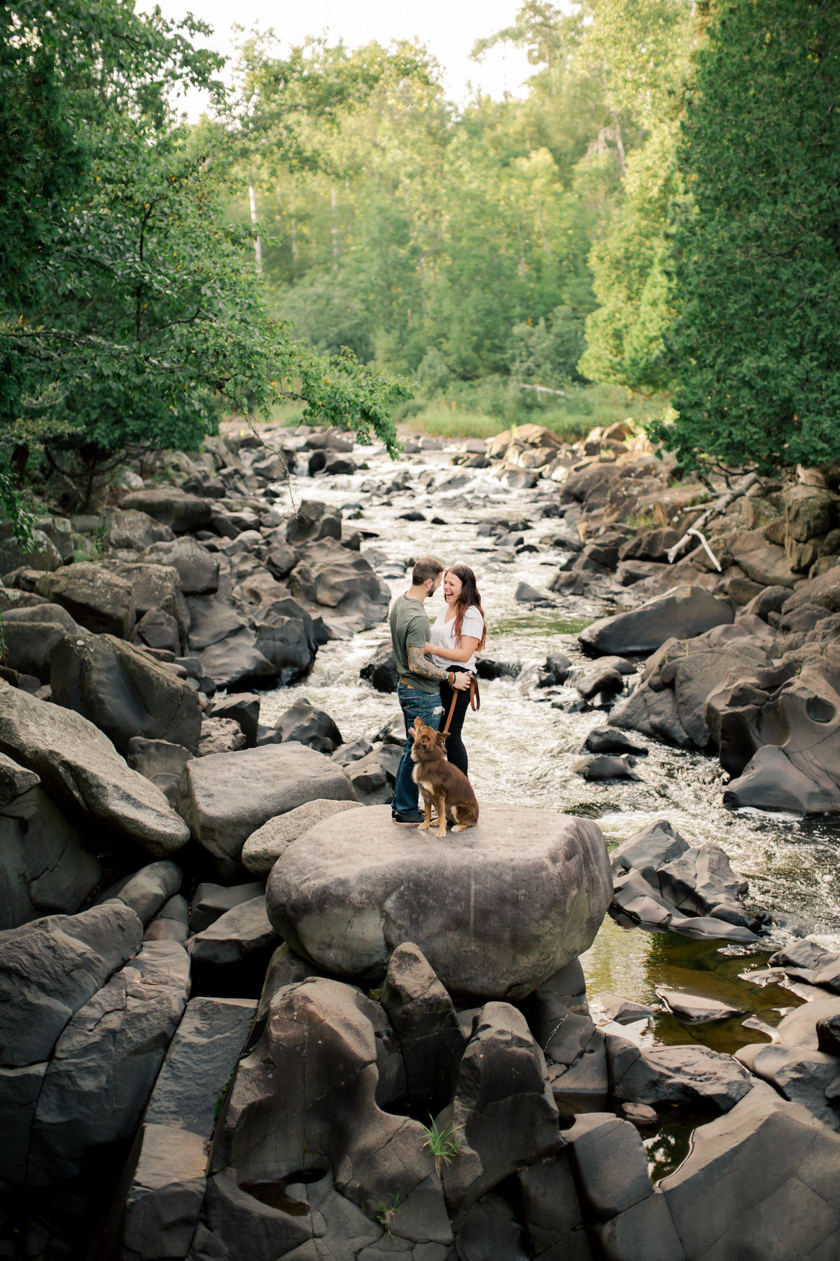minneota state park granite riverbed and boulders lake superior engagement session