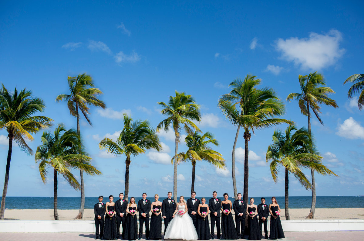 ft lauderdale wedding party with palm trees