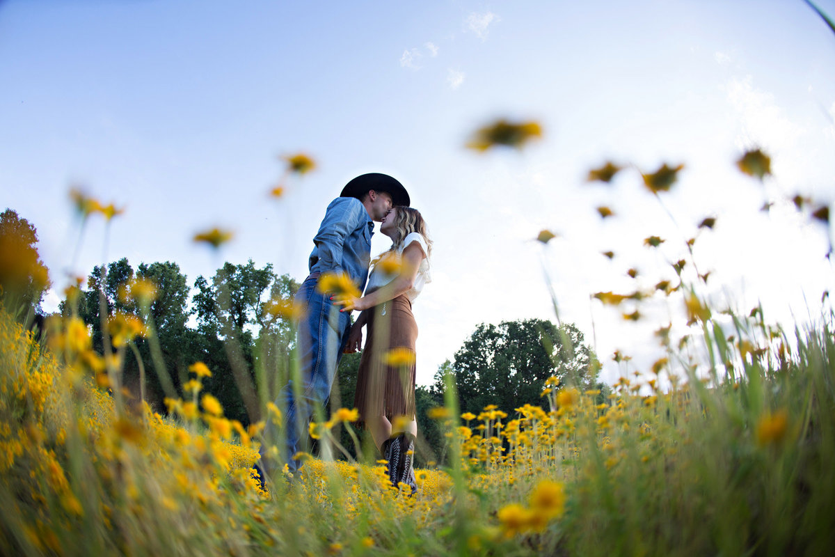 Engagement shoot in flower field