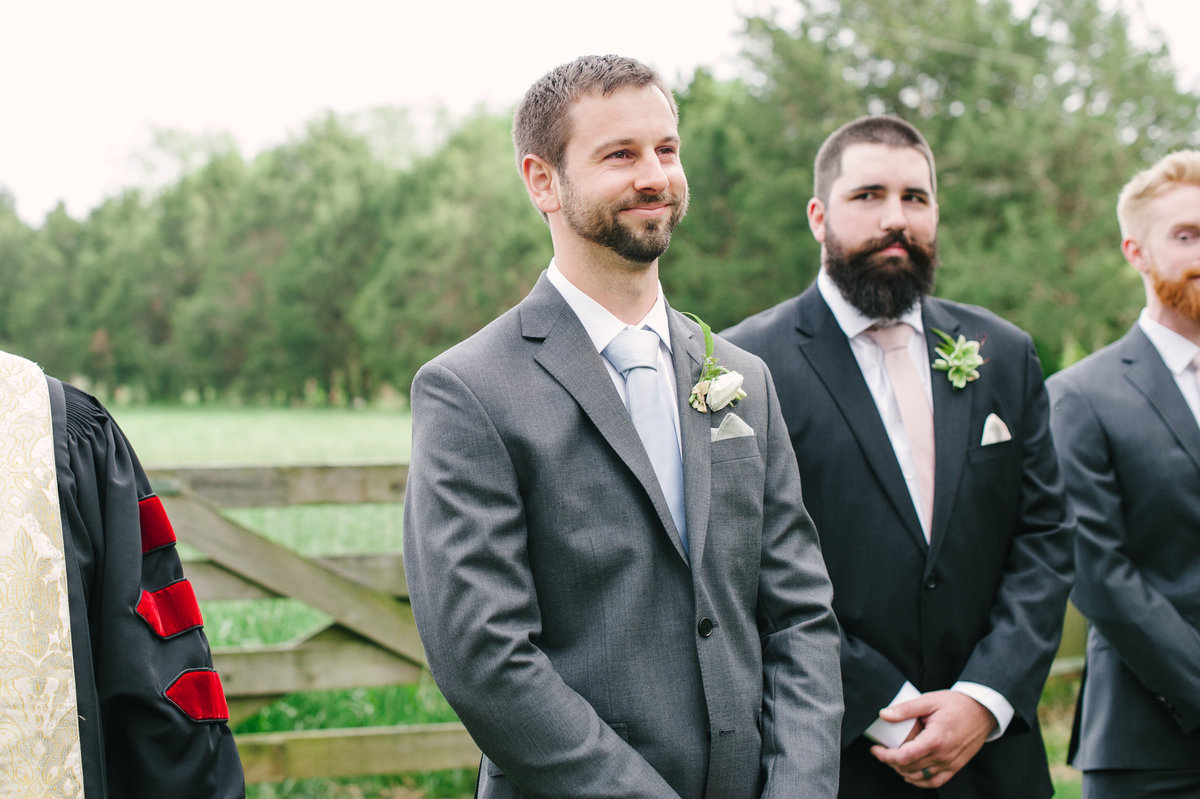 Groom's Face Outdoor Ceremony