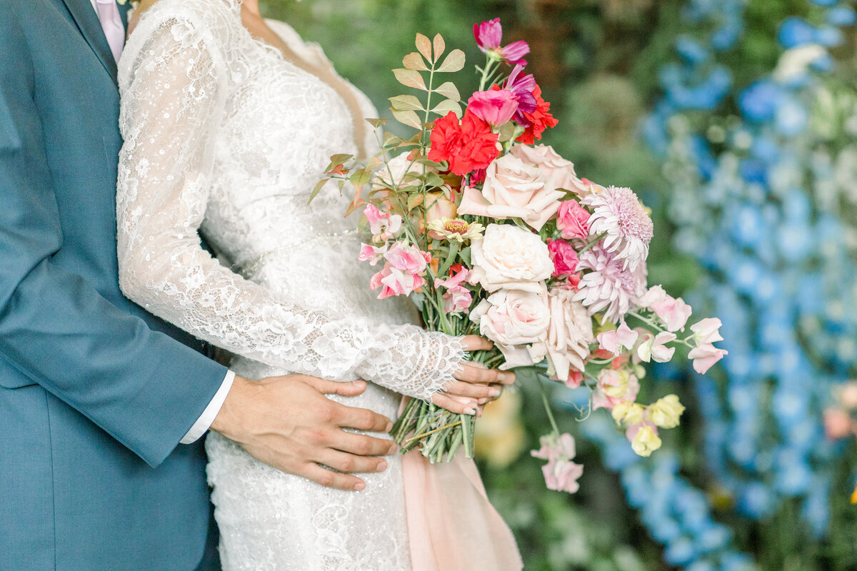 Colorful Wild flower bridal bouquet  at the  Park Chateau Estate and Gardens New Jersey