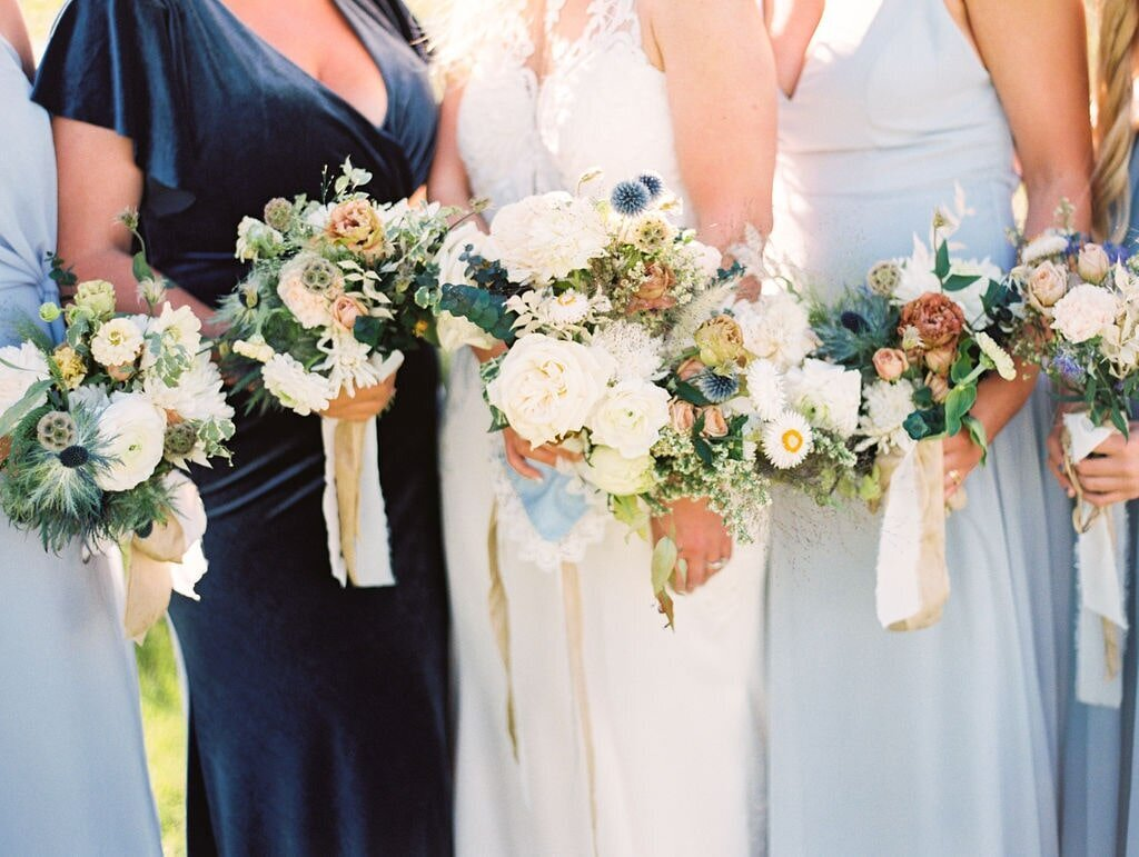 Michigan Wedding Florist Mixed Blues Bridesmaids-min