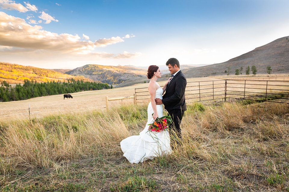 granby-colorado-Strawberry-Creek-Ranch-Wedding-Ashley-McKenzie-Photography-tropic-meets-mountain-wedding-colorful-couple-with-cow-in-background