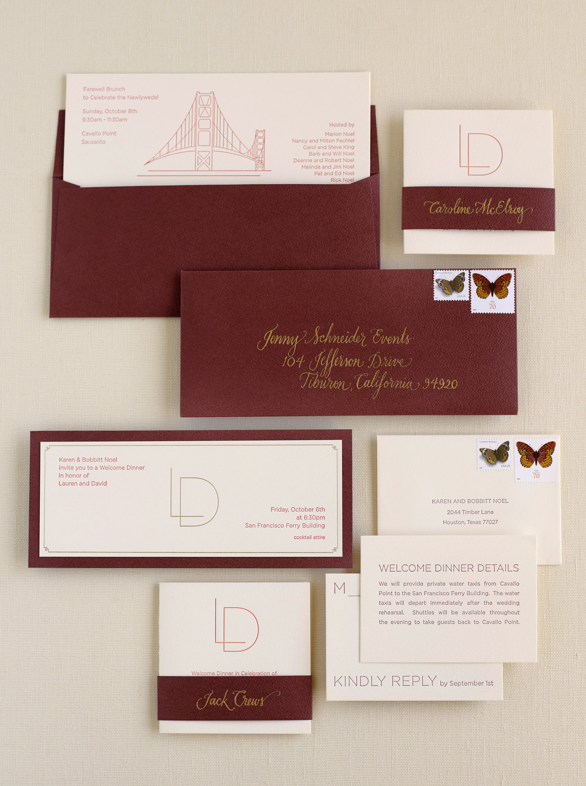 Invitation for wedding welcome dinner by Jenny Schneider Events at the San Francisco Ferry Buidling. Photo by Lacie Hansen Photography.