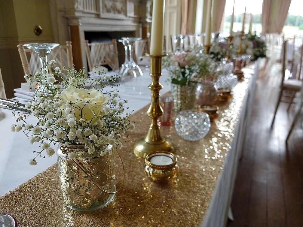 Gold candelabra sequin pearl wedding 11