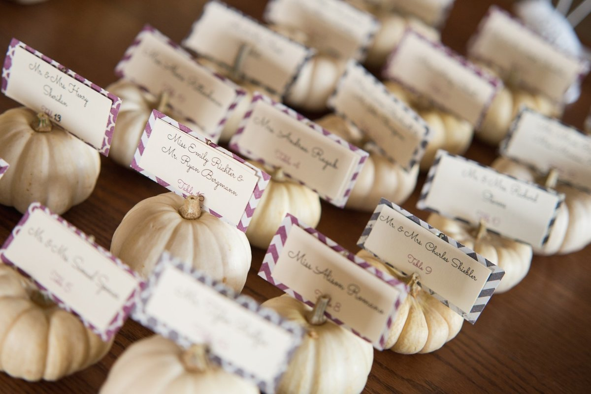 white pumpkins as placecards for this fall wedding at the Mountain Top Inn and Resort in Chittenden