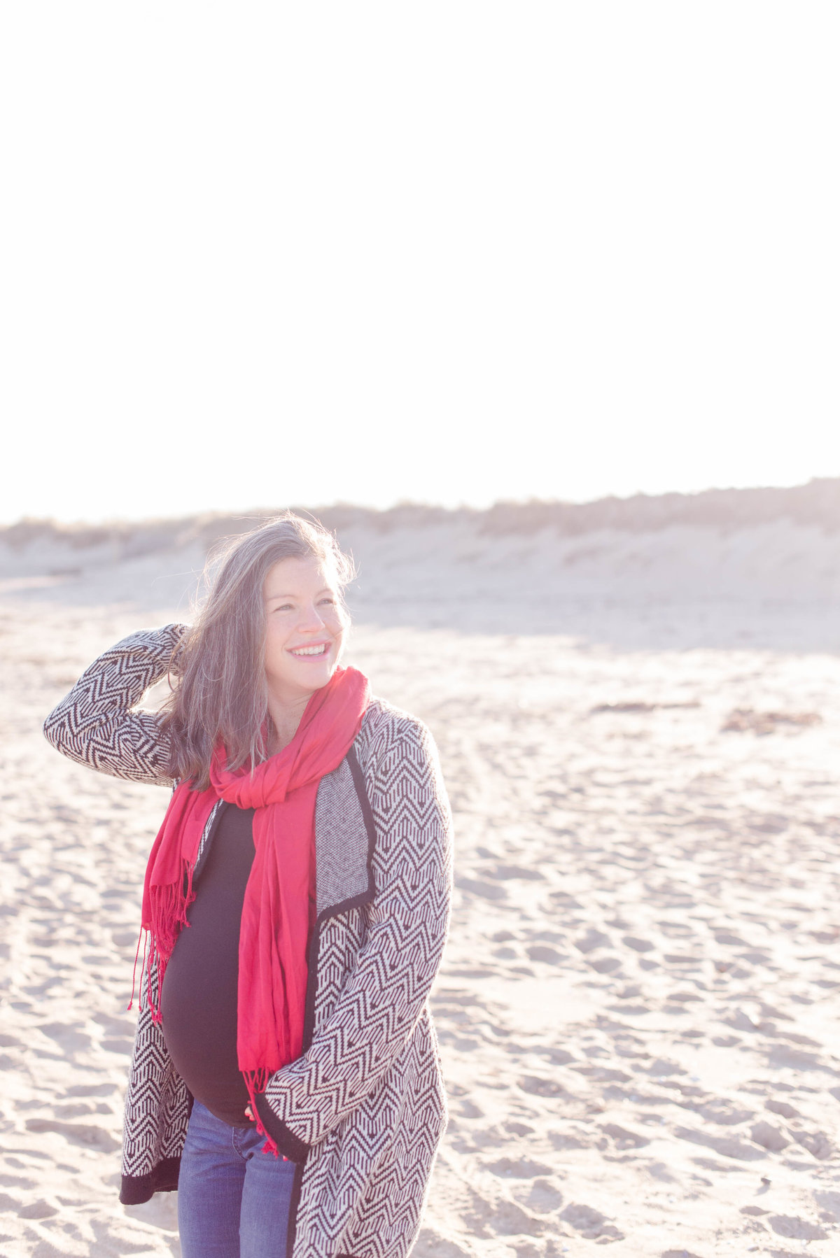 Salisbury beach winter maternity photo.