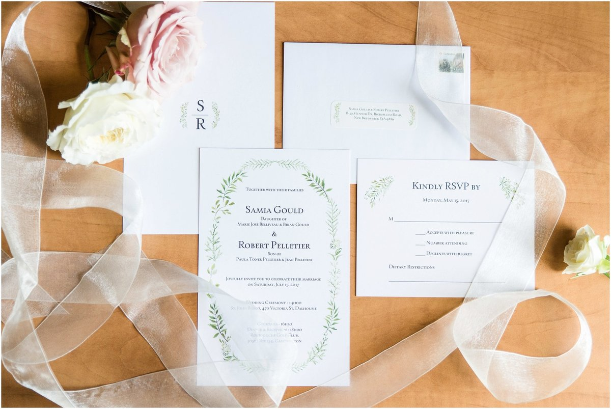Invitation suite, ribbons, loose flowers