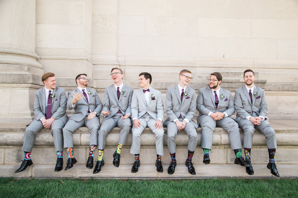 Groomsmen at St Louis Art Museum with superhero socks