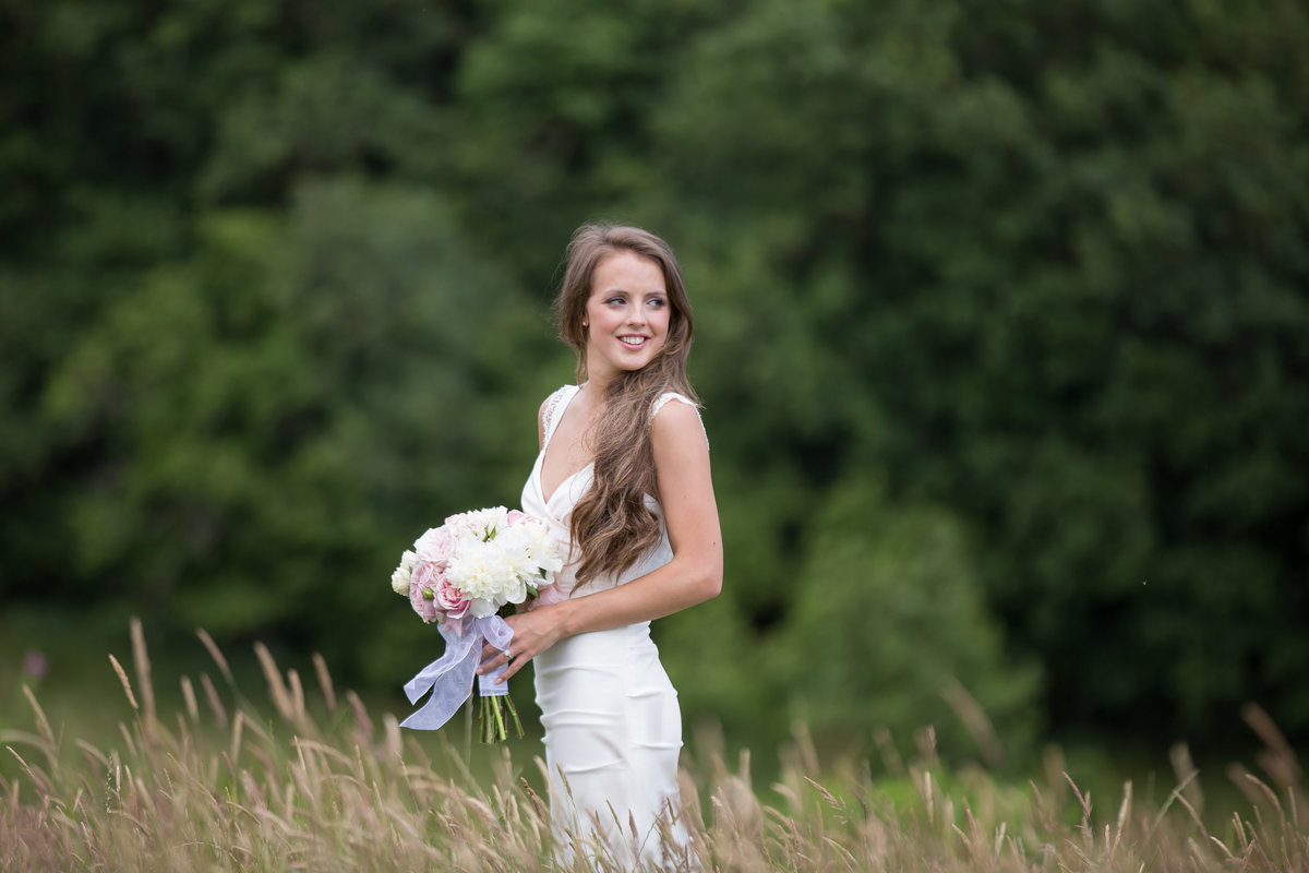 devon bride in a field