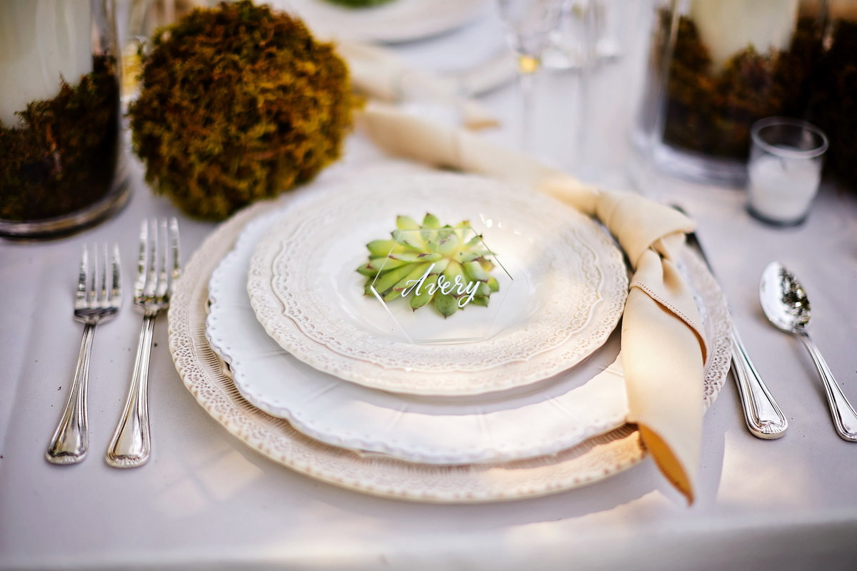 Outdoor wedding reception table setting with succulent, acrylic place card, and natural centerpieces, at Charleston Woodlands, SC