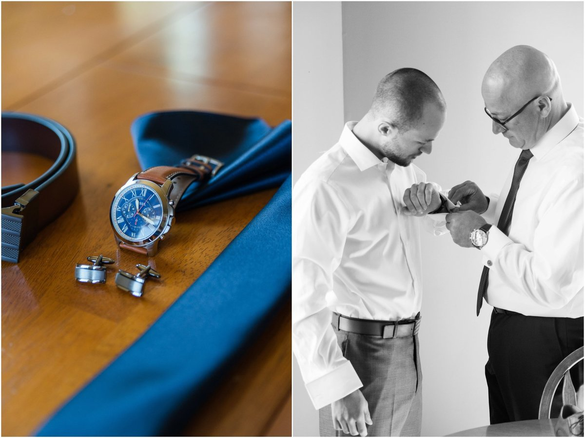 blue tie, cuff links, watch, pocket square, detail photo. Father helping groom put on cuff links