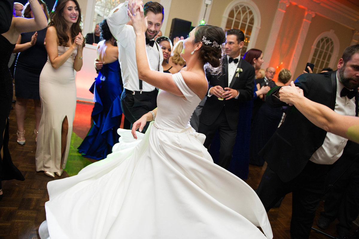 brides dress twirling while dancing