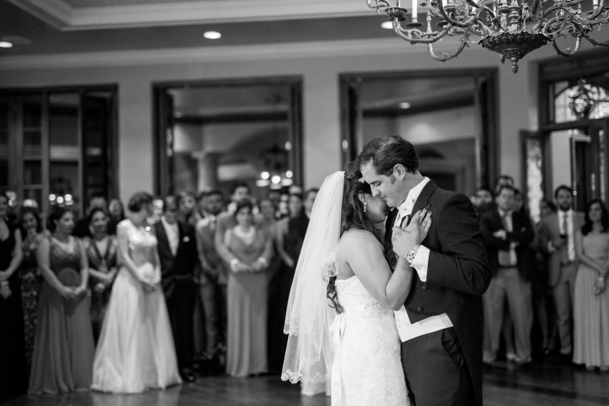black and white photo bride and groom wedding first dance at Dominion Country Club reception san antonio texas