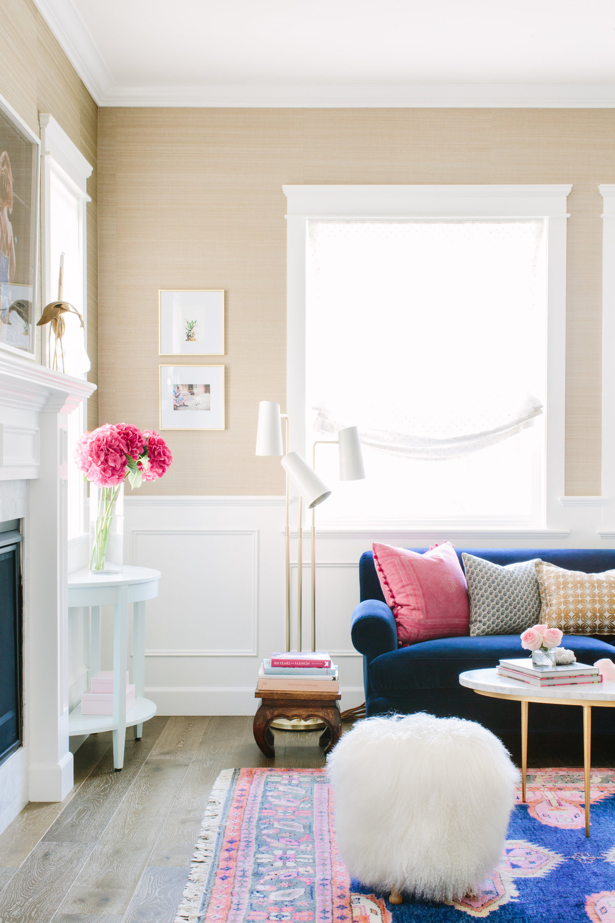 Traditional and modern navy and pink living room