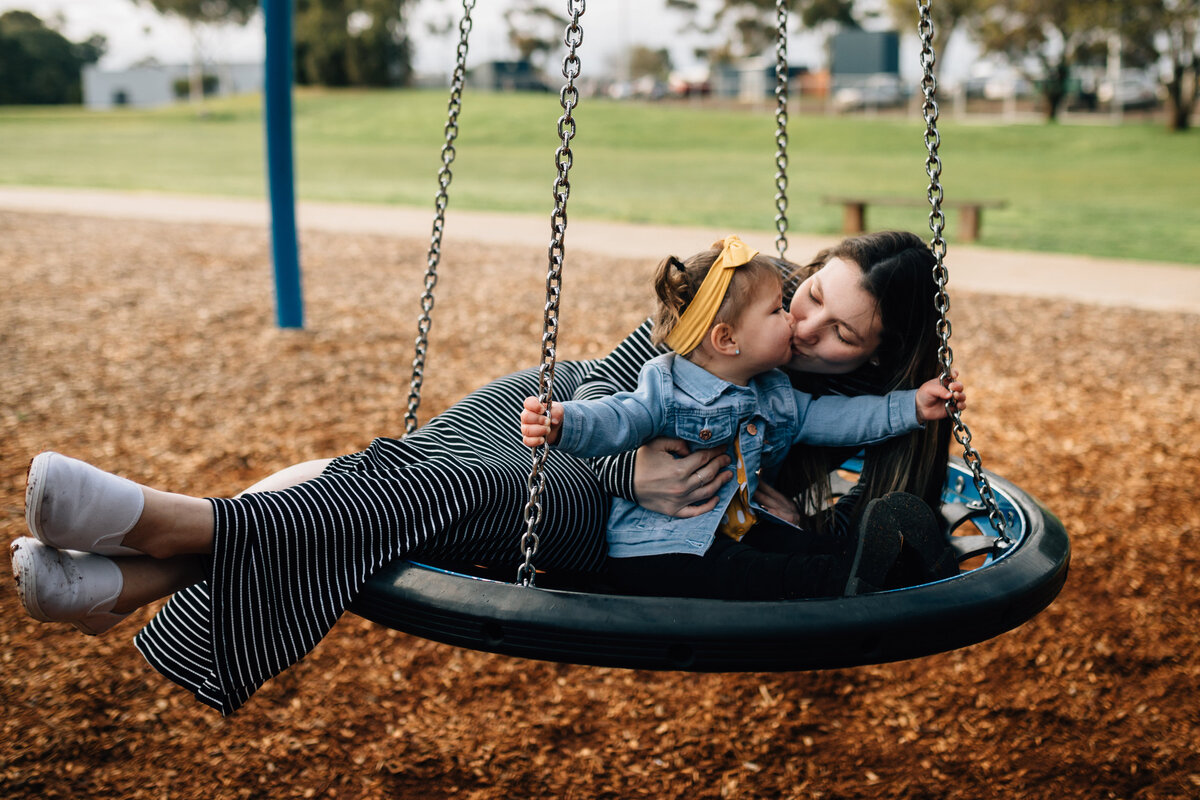 Mum and daughter on swing outdoor Melbourne family photography And So I Don't Forget Photography