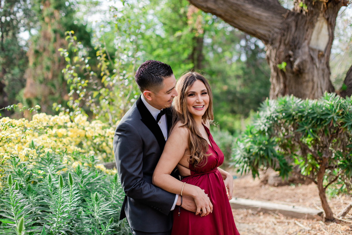 UC Riverside Botanical Gardens, Engagement Photography, Riverside Phototgrapher, Garden Engagement, Couple Photography, Red Dress-35