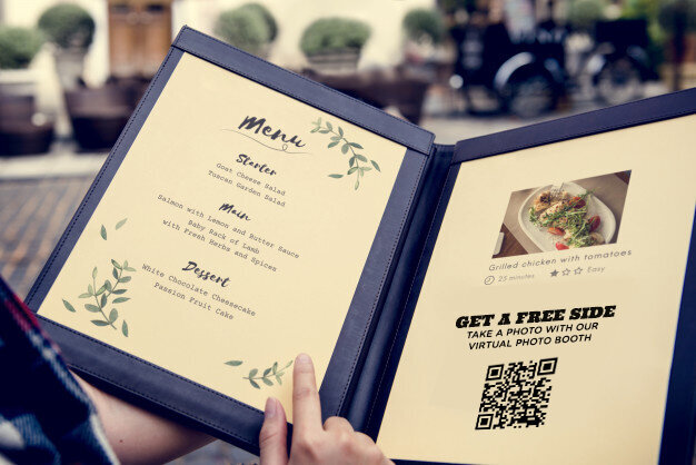 virtual photobooth in restaurant menu