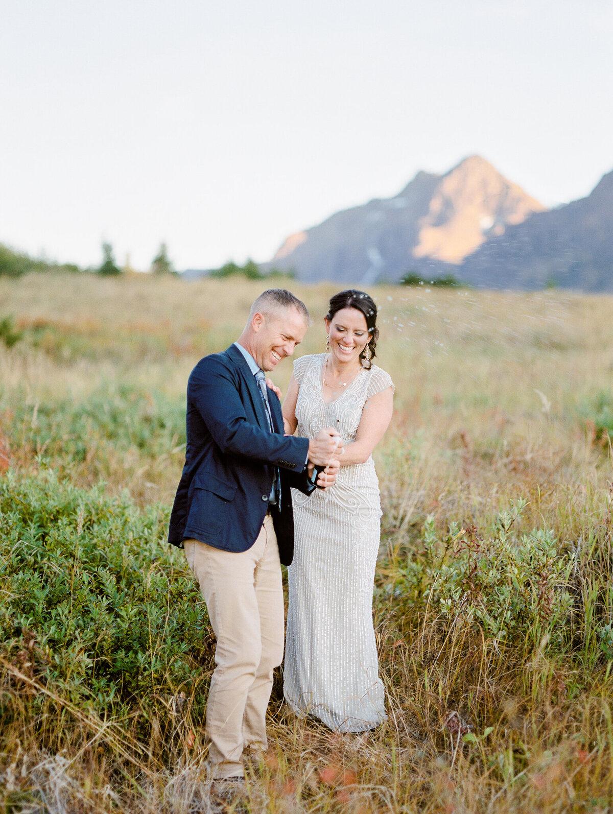 champagne pop Alaska elopement