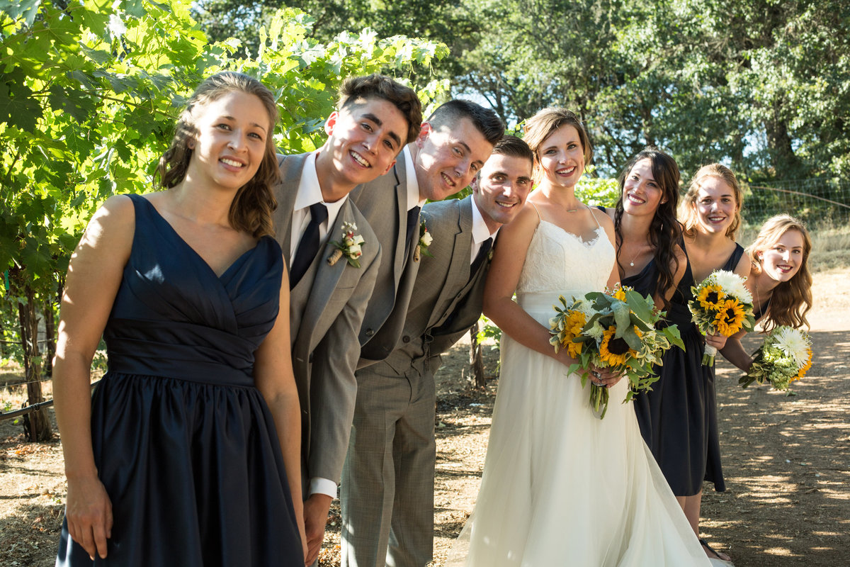 bridal party, bridal party in vineyards