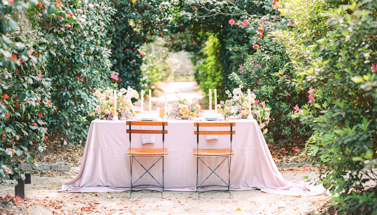 Wedding dining table setup at Middleton Place in Charleston