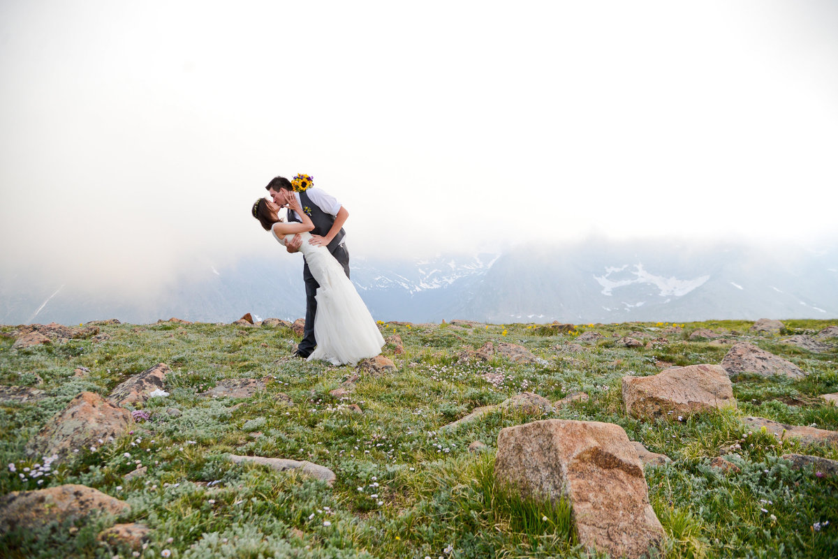Romantic shot of bride and groom in Denver