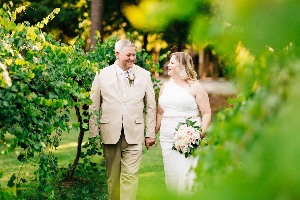 newlyweds walk through a vineyard holding hands