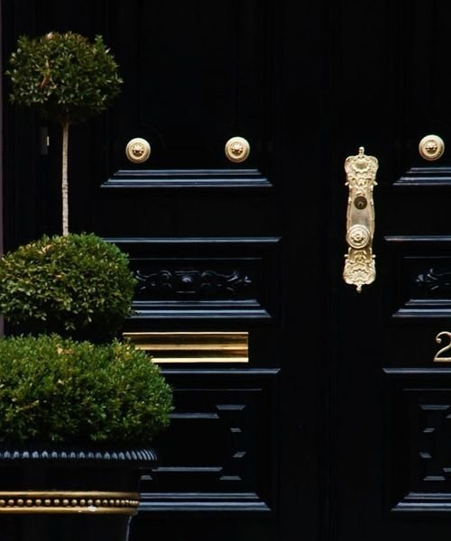 Lacquer black door with boxwoods