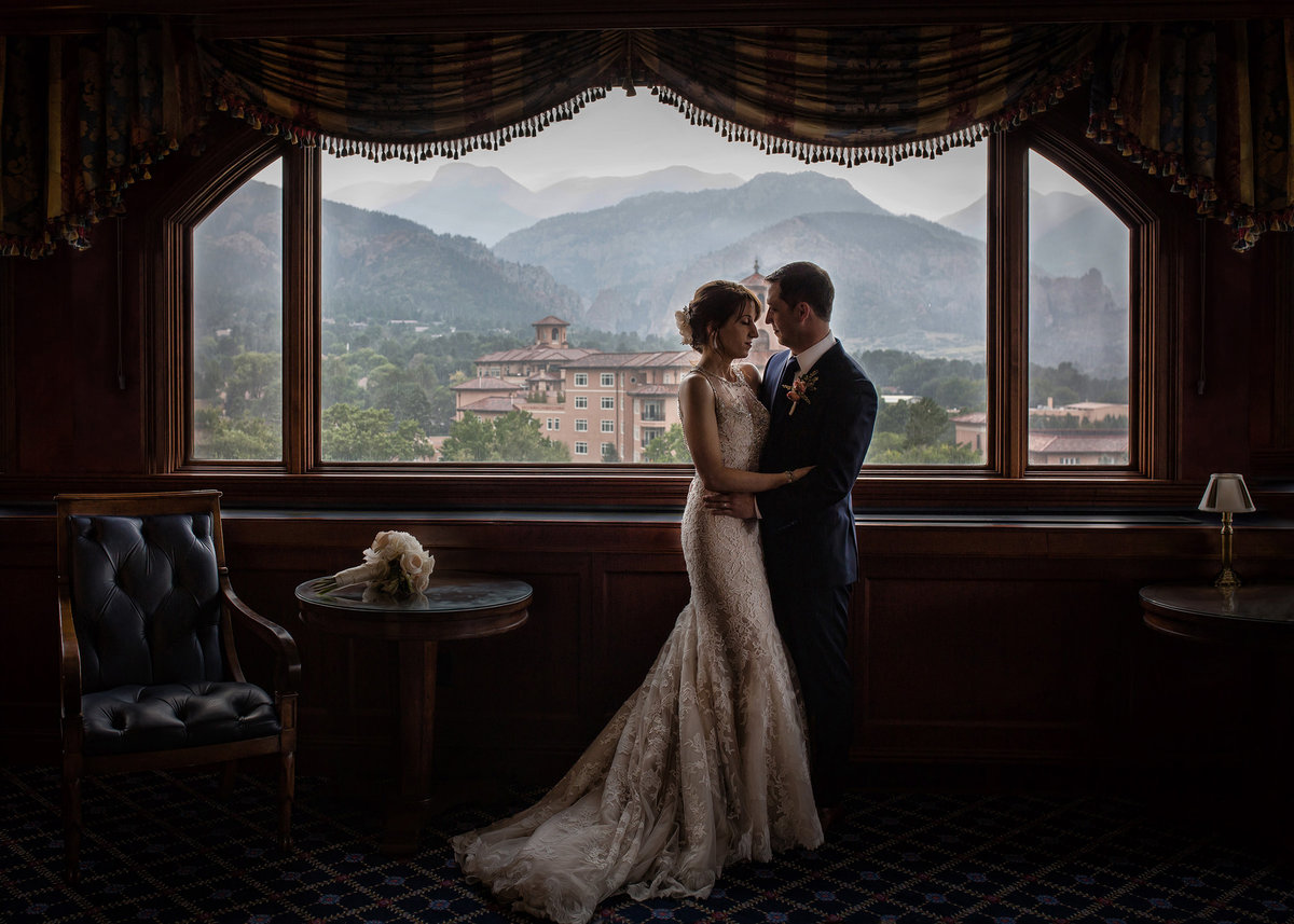 Romantic pose Broadmoor wedding