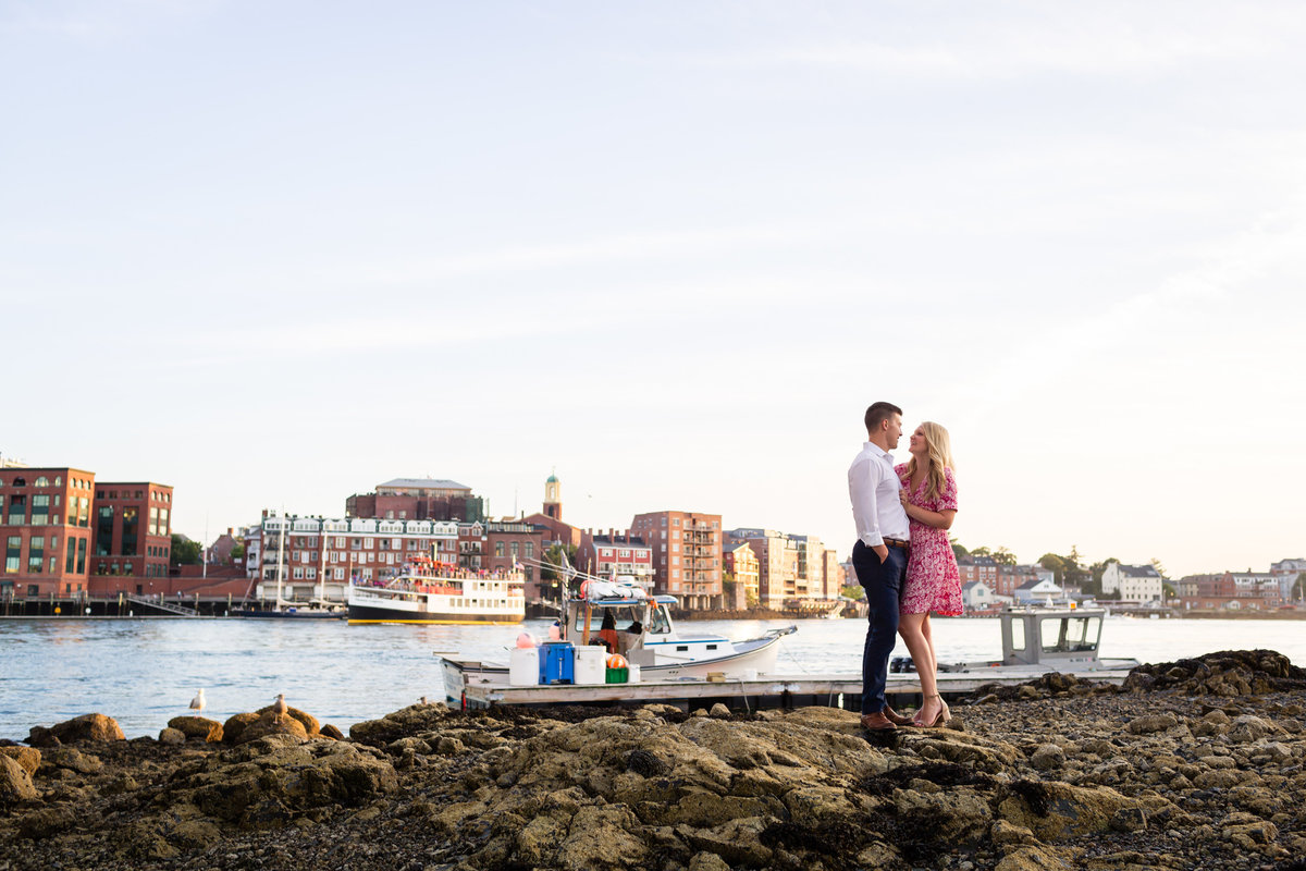 Portsmouth is the backdrop for this couple on Badgers Island Maine