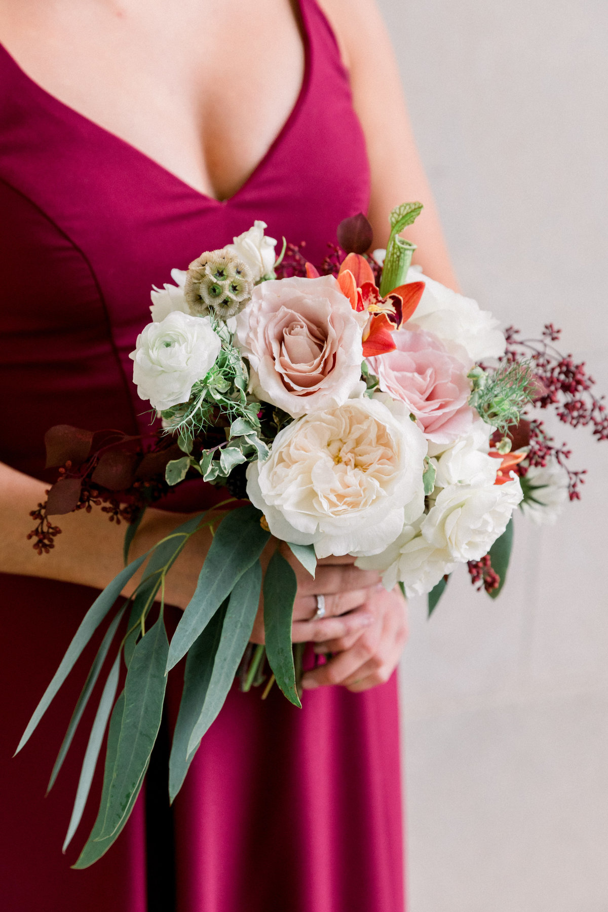 bridesmaid bouquet burgundy Wilmington DE florist