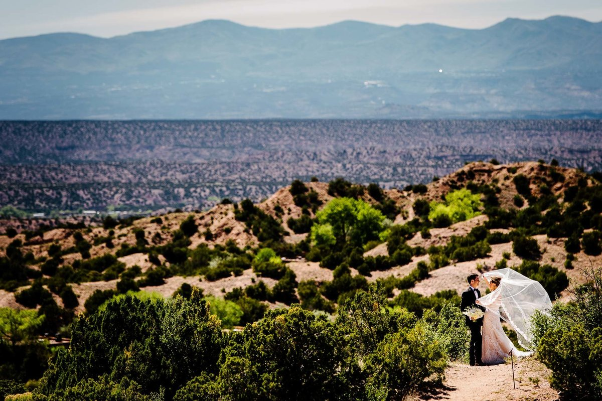 bride and groom portrait at at Four Seasons Resort Rancho Encantado Santa Fe