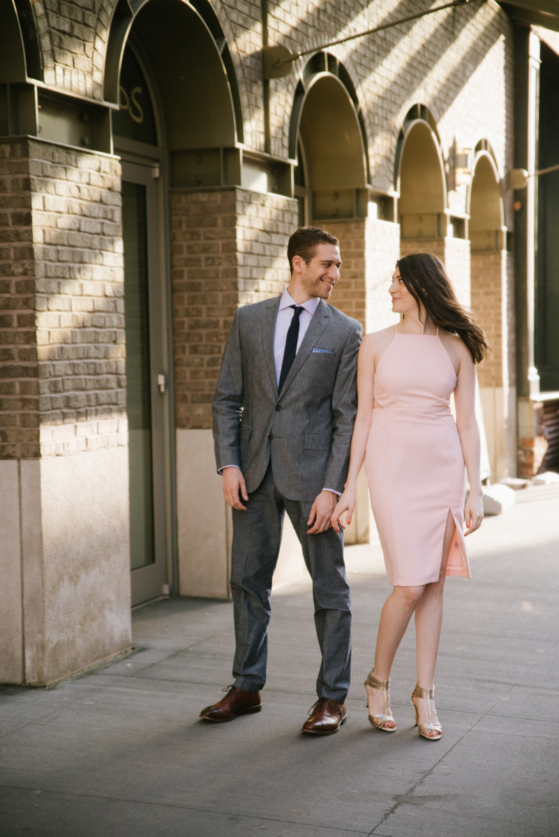 Sunrise engagement photos at the South Street Seaport in NYC