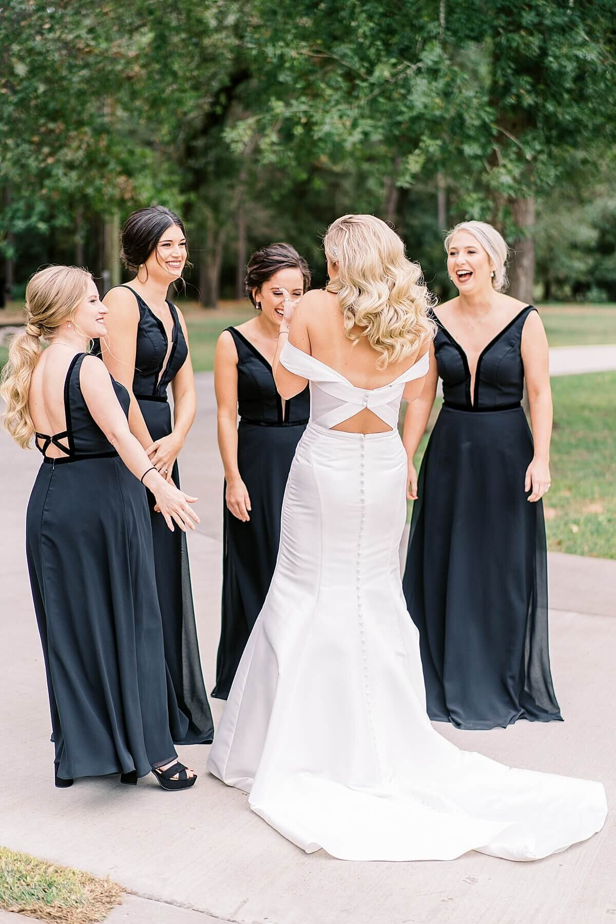 Bridesmaids first look at the Annex Wedding Venue photographed by Alicia Yarrish Photography