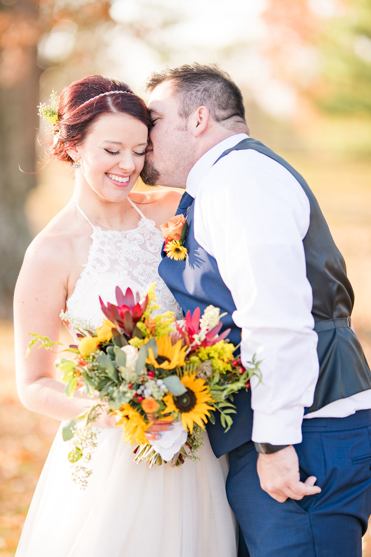 Couple Portraits Wedding Brewery Cincinnati Ohio Colorful Flowers-28
