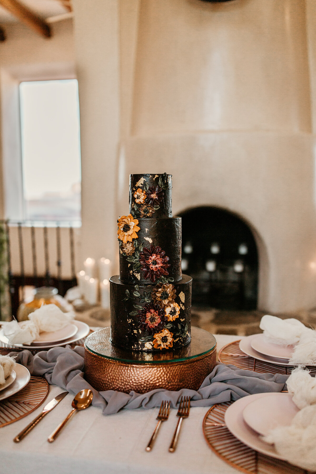 southwest wedding cake on a table
