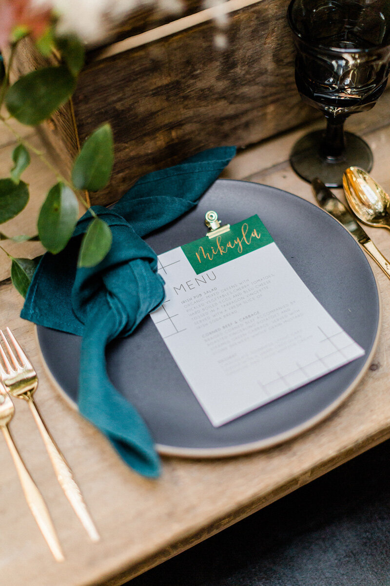 pirouettepaper.com | Wedding Stationery, Signage and Invitations | Pirouette Paper Company | Modern St. Patrick's Day Wedding | Ragi & Amanda Photography _ (3)