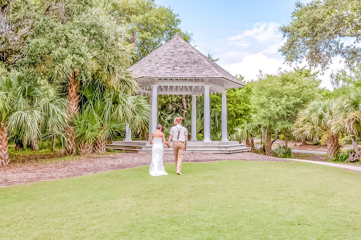 Bald Head Island Wedding Photography - Anna and Ray - Beach Gazebo Walking - Wilmington Photographers Team
