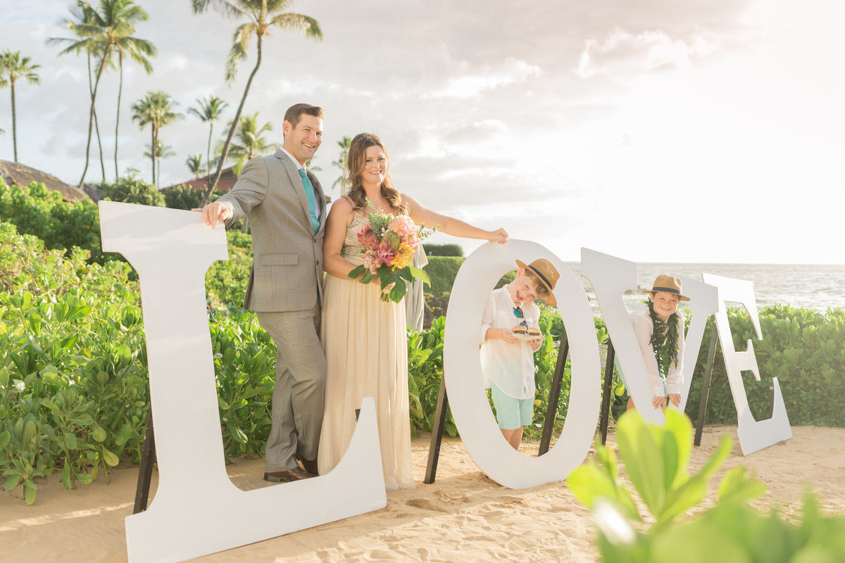 Love sign at maui vow renewal ceremony
