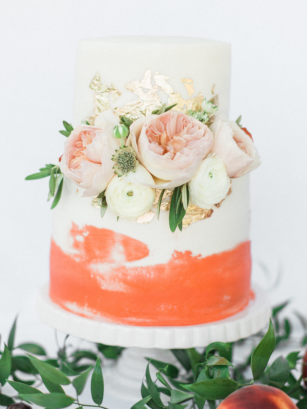 Whimsical Summer Wedding Styled Shoot at Henderson Castle Featured in WeddingDay Magazine Peach and Gold Wedding Cake
