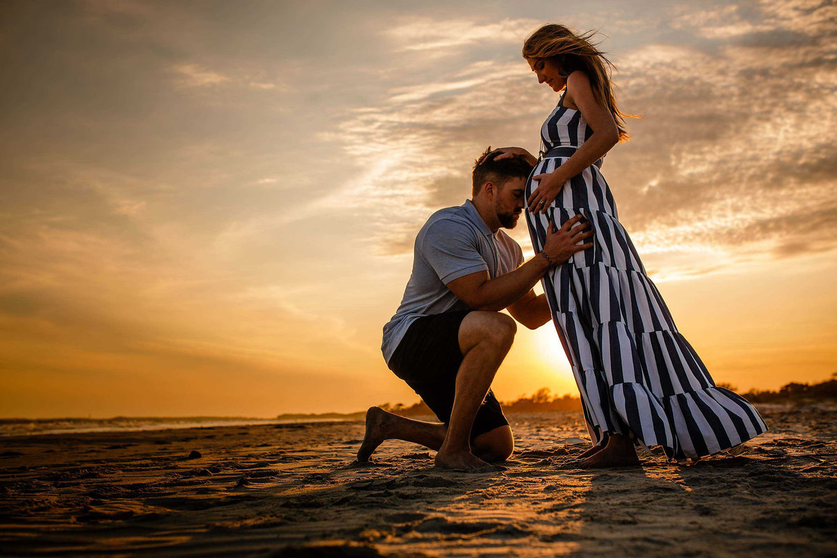 Maternity Photos on Folly Beach by King and Fields Studios Charleston SC
