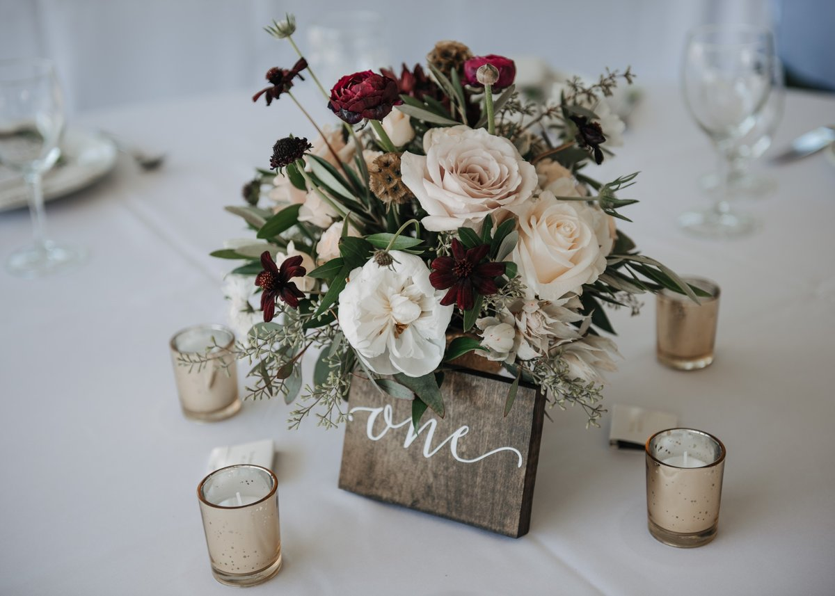 Quicksand Rose Dahlia gold compote centerpiece