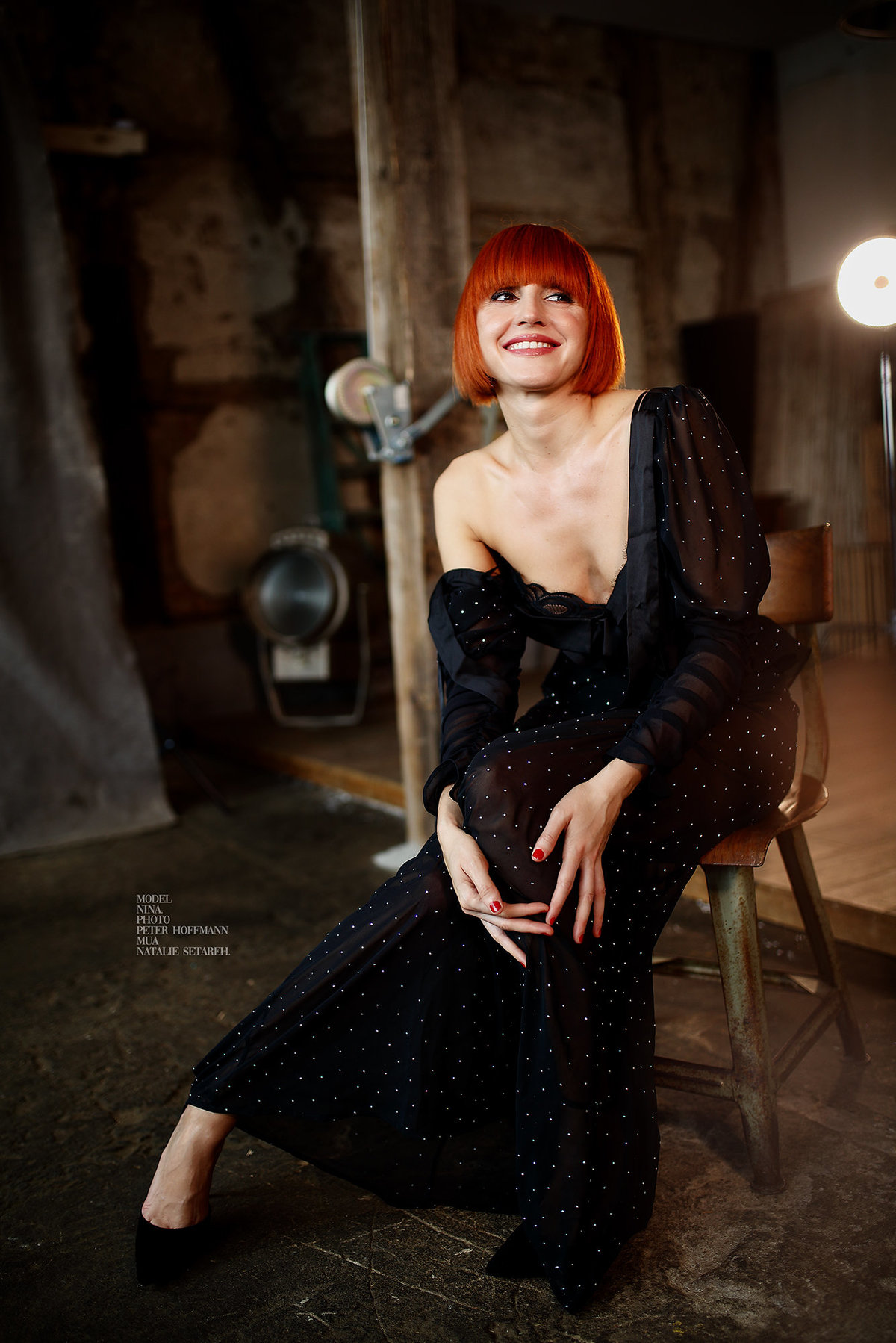 Natalie Setareh Makeup Red Hair Black Dress