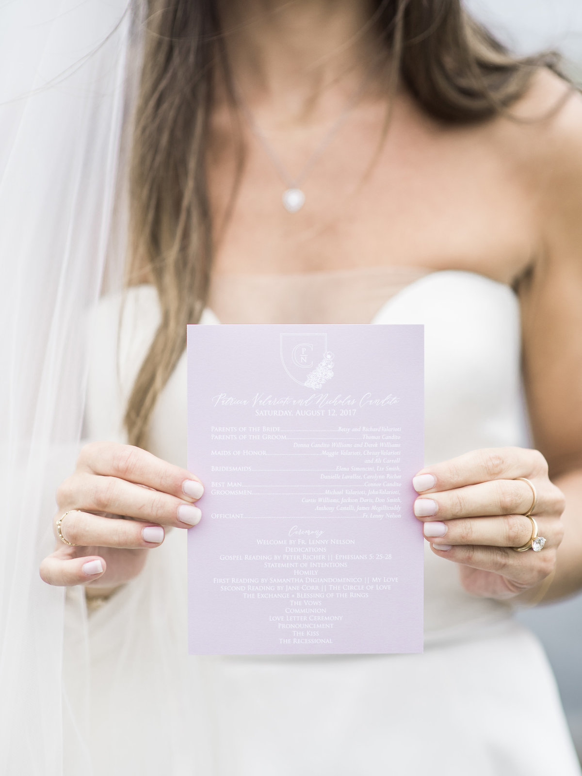Dusty rose wedding ceremony programs for Cape Cod wedding weekend by top destination wedding planner Always Yours Events