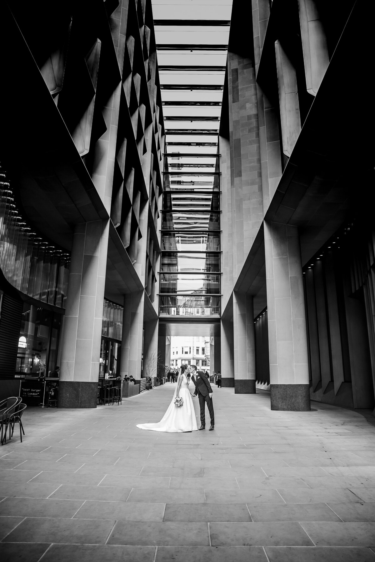 Bride and Groom portrait by the Bloomberg offices, London