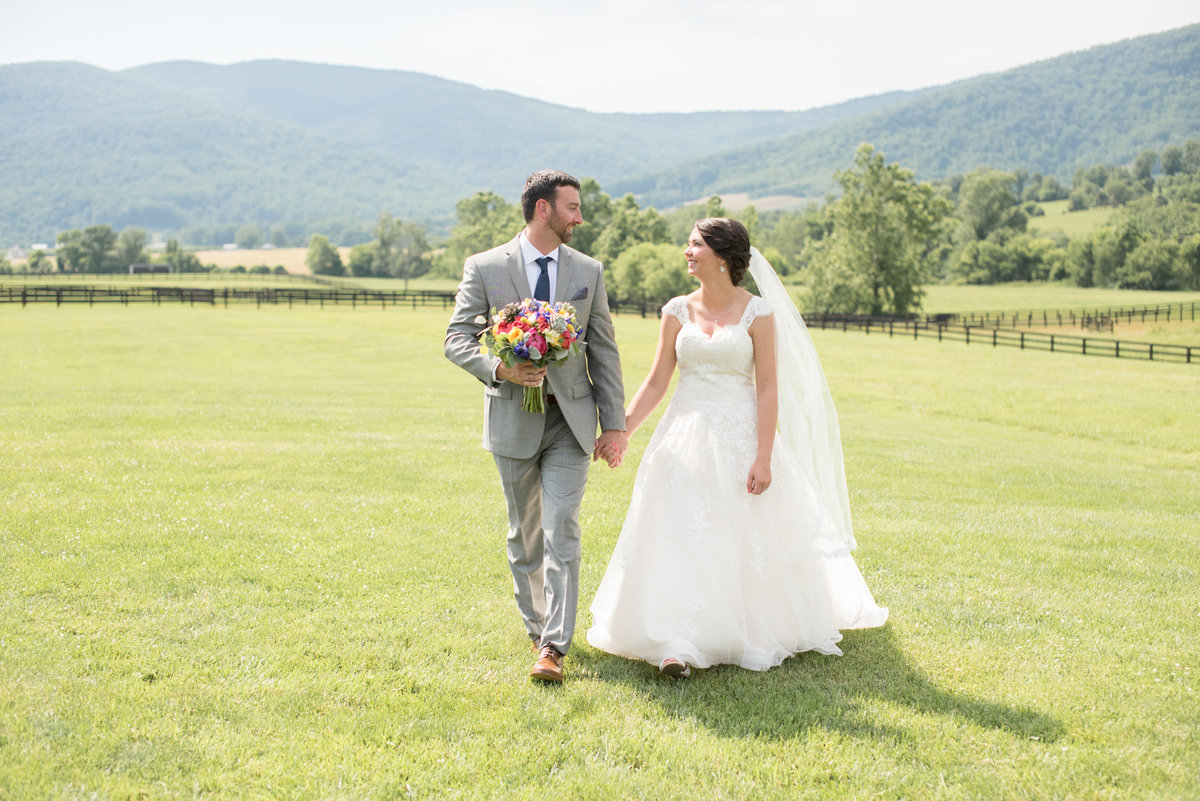 Bride and groom at southern vineyard wedding venue in Charlottesville