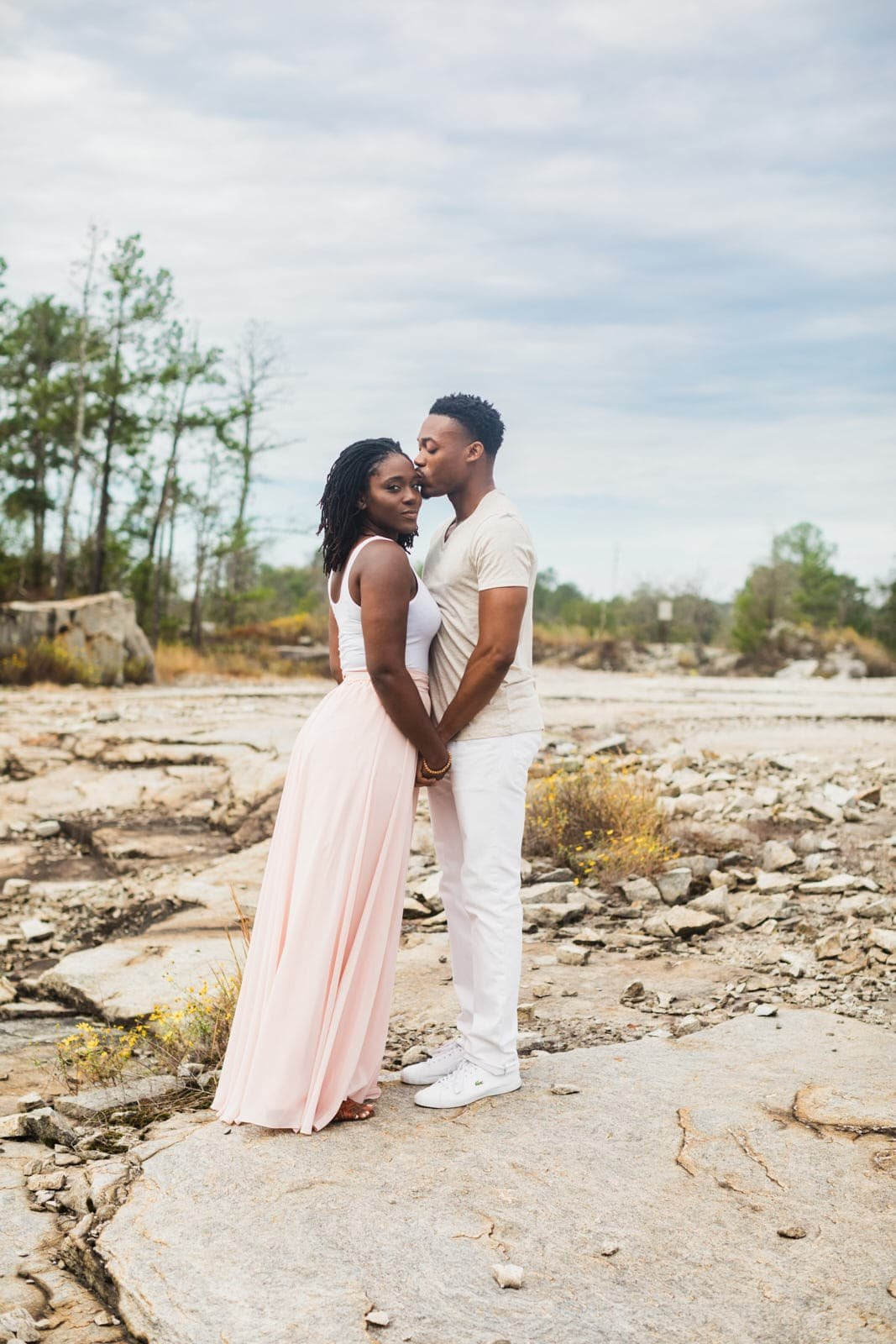 engaged couple portrait Arabia Mountain Atlanta by Mike Glatzer Photography