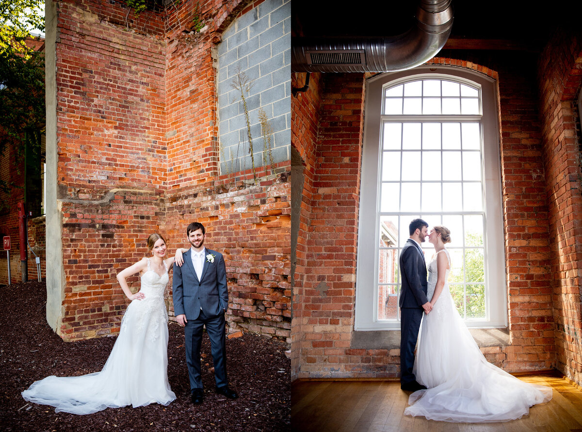 Bride and groom portraits at The Cotton Room in NC